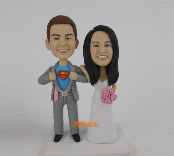 Superman Cake topper Wedding Cake Topper bobblehead Custom cake topper Wedding topper bobble head Superhero Cake toppersr Super man -CT FSM1