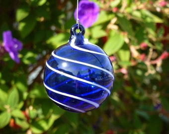 Handblown Cobalt Blue Ornament with White Vertical Swirling Lines