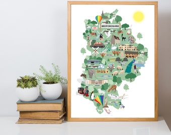 Bedfordshire's Sights Illustrated Map Giclee Print