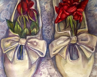 CUSTOM ART - Wedding Shoes - Custom Water Color on French Paper