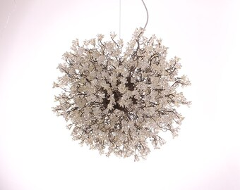 Hanging chandeliers with Clear jumping flowers for dinning room, living room, office or bedroom.
