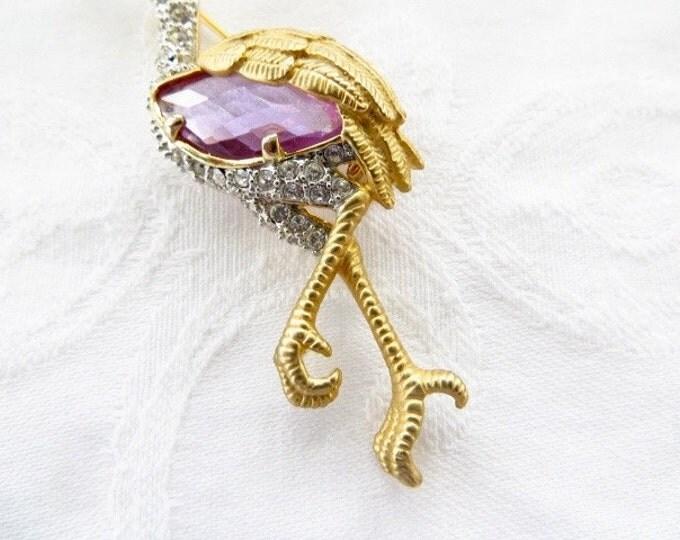 Vintage Heron Brooch, Bird Pin, Figural Shorebird, Nature Jewelry Seashore Jewelry