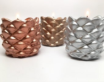 Metallic Concrete Acorn Candleholders - Set of 3 - Wedding Decor - Party Decor