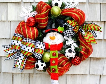 Christmas Wreath for the Door Snowman Red White Green and Black,Deco Mesh on Evergreen 20 inch Base Triple Layered Ribbon