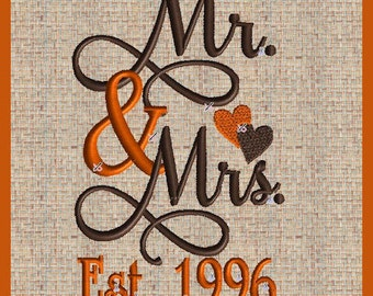 Mr and Mrs Embroidery Design with  Established Year 1996  Mr and Mrs  Wedding Embroidery Design