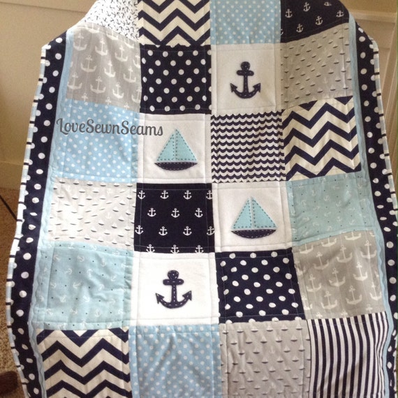 Nautical Sailing Crib Size quilt in blue navy gray