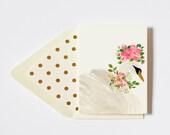 Graceful Floral Crowned Swan Card Blank