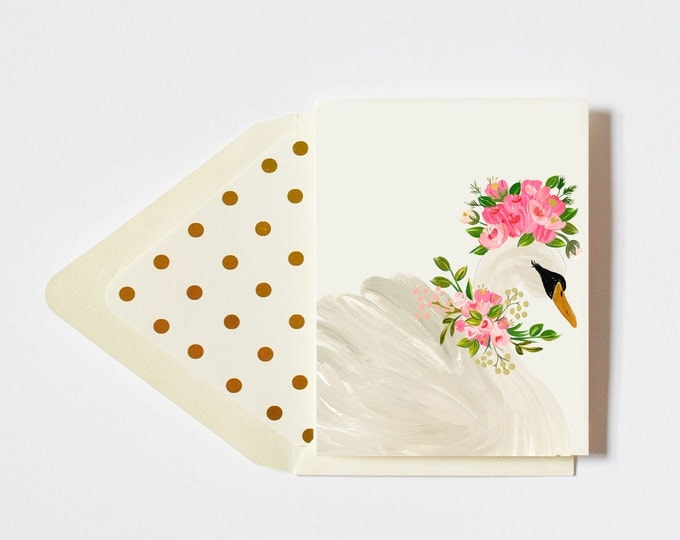 Graceful Floral Crowned Swan Card Blank