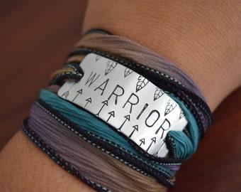 WARRIOR ~ Hand Stamped~Silk Ribbon Wrap Bracelet