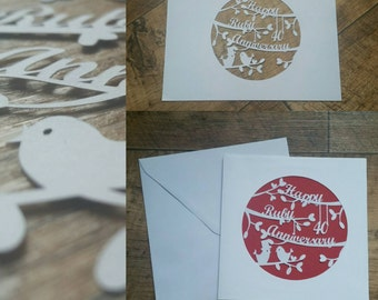 Ruby wedding anniversary papercut card