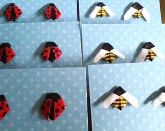 Origami Ladybug or Bumblebee Stud earrings