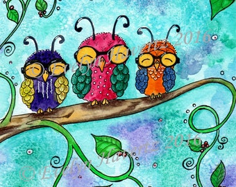 "Whimsical Owls ""Siblings"", mixed media painting on watercolor paper"