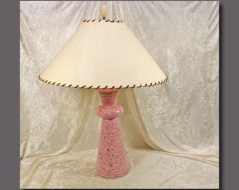 Mid Century Pink Spatter Table Lamp With Original Paper and Laced Shade