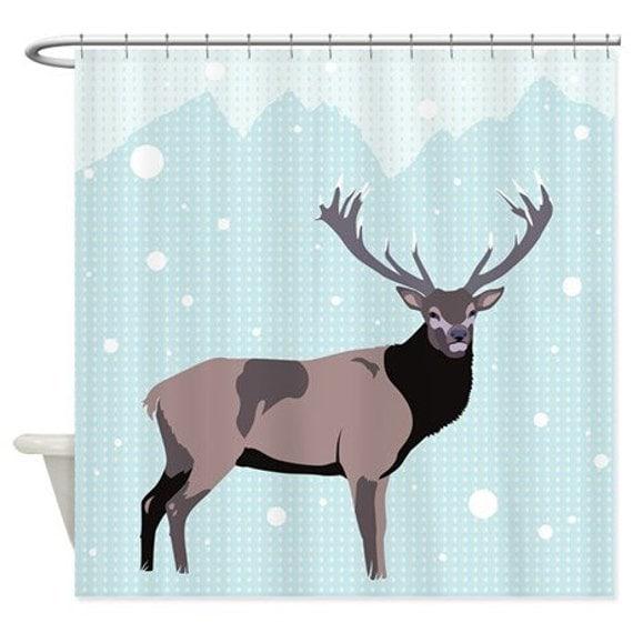 Shower Curtain Snow Deer Ornaart Design by Ornaart on Etsy