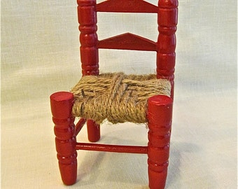 Red Enamel Ladder-back Doll Chair with Jute Seat
