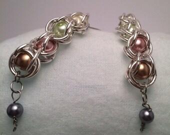 Caged metallic Pearl drop earrings