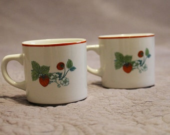 Set of 2 Vintage Ming Pao Asian White Red Green Printed Ceramic Strawberry Teacups or Small Mugs for Coffee Tea Hot Chocolate