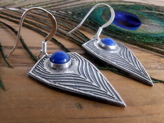 Silver Peacock Feather Earrings, Peacock Inspired Drop Earrings, Silver Feather Earrings with Lapis Gemstone, Artisan Earrings,
