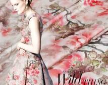 43 inches wide 19 m/m Peony style Print Silk Fabric silk elastic satin Fabric Dress Fabric by the yard - xy