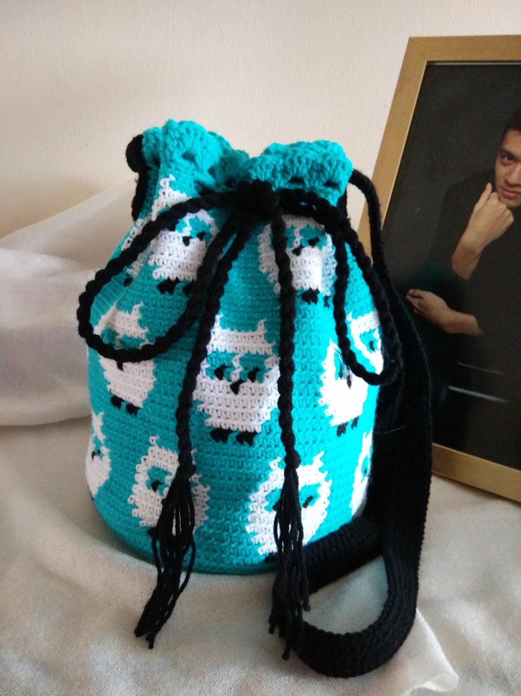 Crochet pattern for sling bag manet for crochet turquoise owl sling bag owls bag hobo bag bird bankloansurffo Image collections