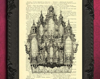 Organ illustration, pipe organ print, antique instrument wall art