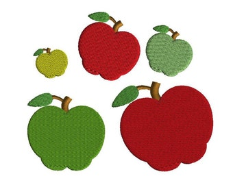Mini Apple Embroidery Design, 5 sizes, filled stitch, back to school design, Instant Download, machine embroidery, school embroidery