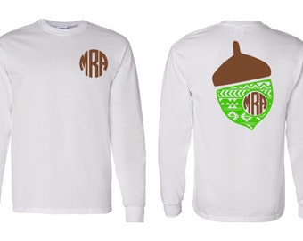 Aztec, Solid, Chevron Monogram Fall Acorn Adult, Youth, Toddler Long Sleeve T-Shirt, Thanksgiving and Fall Monogram Clothing, Holiday Shirt