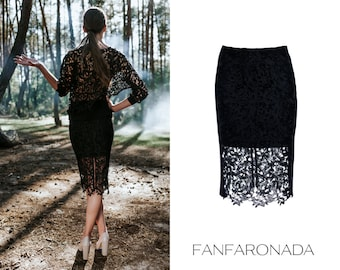 Lace pencil skirt, black pencil skirt, lace skirt, textured lace skirt, elegant skirt,