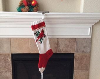Hand Knit Cardinal Christmas Stocking
