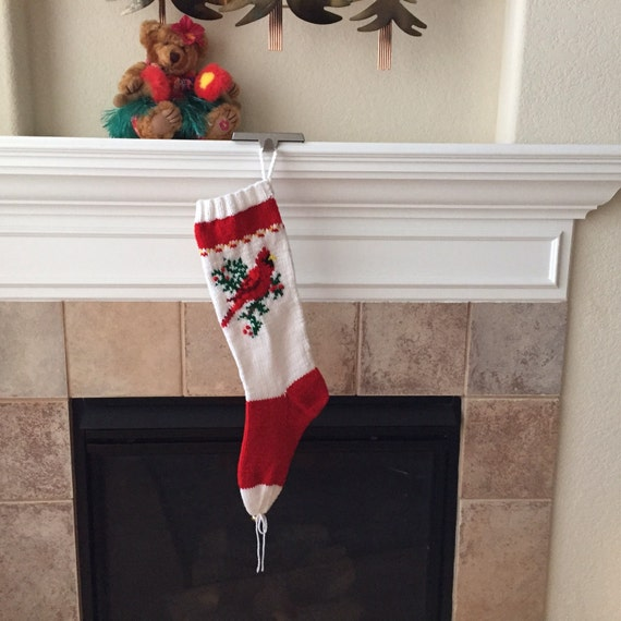 Hand Knit Cardinal Christmas Stocking