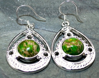 Natural green turquoise earrings