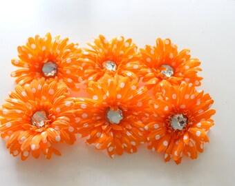 Orange Polka Dot Gerbera Daisies, Gerber Daisy, Flower heads, Crafters, Hair Supply, DIY
