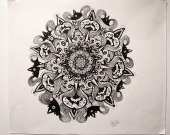 "Salty Malt Pen and Ink Mandala Illustration 17x14"""