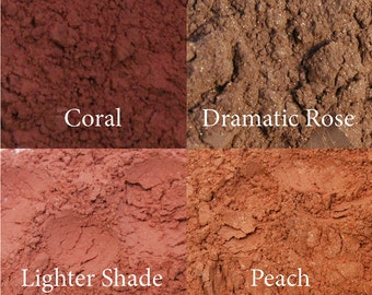 Mineral Blush Makeup in Shades of Peach, Coral, Rose and Pink