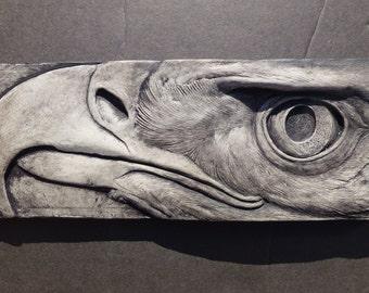 Eagle Portrait Pigmented  Sculpted Concrete 3d Picture Tile