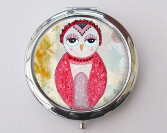 Owl Compact Mirror, Cute Owl Gift, Purse Mirror, Stocking Stuffer, Teachers Gift