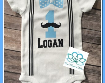 First birthday onesie, Baby BOY onesie, mustache onesie, bowtie and suspender onesie