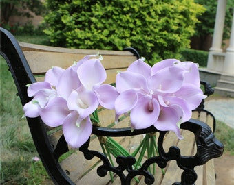 Light Purple Calla Lily Real Touch Bridal Bouquet Flowers Latex Lilac Calla Lilies Wedding Decor Table Centerpiece