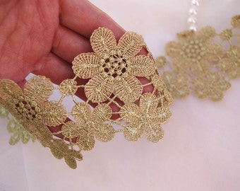 metallic gold lace trim, gold lace with retro flowers, golden guipure lace trim by the yard