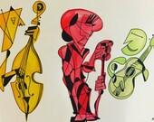 C'est le temps de l'amour: ink and watercolor piece 18 x 24 -Double Bassist, Jazz Singer, Guitarist