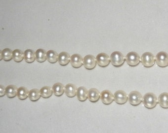 Signed JCM Pearl Necklace with 14k Yellow Gold Clasp