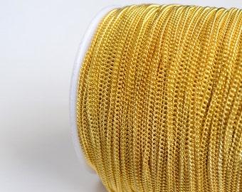 Gold Chain, Cable Chain, Gold Curb Chain, 2 mm - 16 feet
