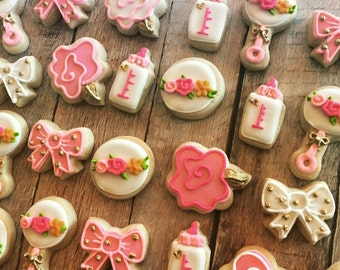 Mini floral Baby Shower cookies