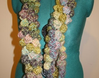 Bubble Crochet Scarf-Water Colors