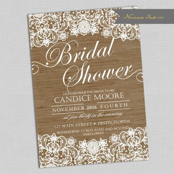 Burlap and Lace  Bridal Shower Invitations, couple shower, wedding shower, printed or digital copy, 24 hr turnaround, rustic, chic