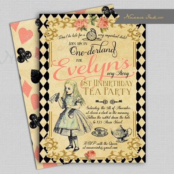 Alice Tea Party Birthday Party Invitations, one-derland, wonderland, tea party, mad hatter, printed or digital file diy, any age, first, 1st