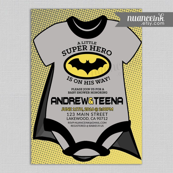 batman baby shower invitations superhero black yellow batman cape
