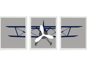 Airplane Nursery Art, Biplane Wall Art, Baby Boy Room, Navy Blue and Gray Decor, Plane Nursery, Toddler Boy Room, Flying Art, Boy Art, Gift