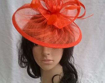 Orange  Fascinator ..Sinamay and  feather Fascinator...Gemma