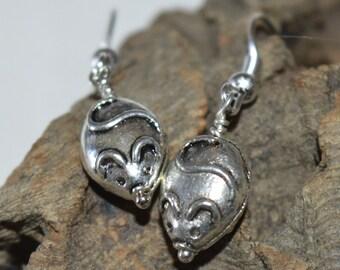 Tibetan silver Mice charm earrings
